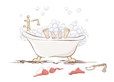 Funny illustration -- couple in the bathroom Stock Image
