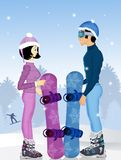 Couple with snowboard in winter. Funny illustration of couple with snowboard in winter Stock Photos