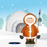 Eskimo and igloo. Funny illustration of Eskimo in winter landscape Stock Images