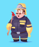 Funny  illustration of fireman cartoon character. Funny  illustration of cute fireman. Vector cartoon character.  on blue background Stock Image