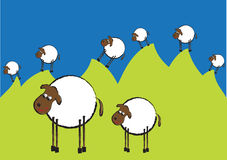 Funny illustration of flock of sheep on the hills Royalty Free Stock Photo