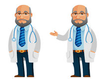 Funny illustration of a friendly senior doctor. Cartoon illustration of a senior doctor in white coat Royalty Free Stock Image