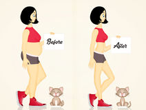 Girl and cat before and after the diet Royalty Free Stock Image