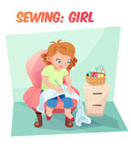 Funny  illustration girl sewing Royalty Free Stock Images