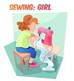 Funny  illustration girl sewing at machine Stock Photography