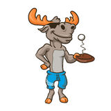Funny illustration of a moose with racket and ball. Vector illustration Royalty Free Stock Photos
