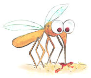 Funny illustration of a mosquito Stock Photo