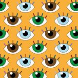 Funny  illustration of seamless eyes with fixed gaze.  Stock Images