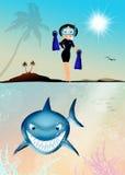Funny illustration of shark Stock Photo