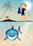 Funny illustration of shark Royalty Free Stock Photos