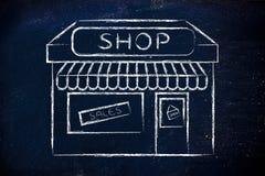 Funny illustration of small corner shop. Funny corner shop design with sale or marketing promotional offer stock photos