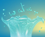 Funny illustration with water splash. Cartoon style. Water word Lettering. Transparent and shiny water splashes. Water spurting fo Stock Photos