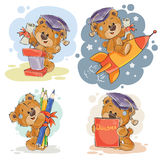 Funny illustrations for greeting cards and childrens books on the topic of school and university education Stock Photos