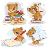 Funny illustrations for greeting cards and childrens books on the topic of school and university education Stock Photo