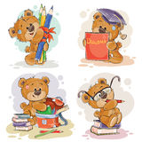 Funny illustrations for greeting cards and childrens books on the topic of school and university education Stock Image