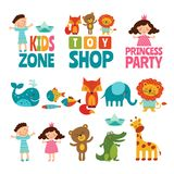 Funny illustrations of kids and animals. Vector logos for childrens. Toy shop logo, kids zone emblem, crocodile and fish, giraffe and elephant illustration Stock Image