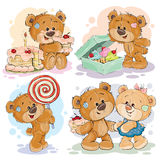 Funny illustrations with teddy bear on the theme of love for sweets Stock Photo