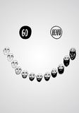 Funny illustratoin with groming beard. Funny vector illustration of growing beard with smile. Isolated editable objects Stock Photos