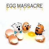 Funny Illustration Concept of Egg Massacre Stock Photo