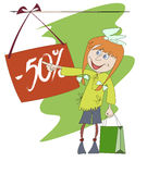Funny image of a shopping girl Stock Photos