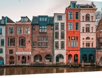 Funny, impressive houses. Beautiful old town in Amsterdam, The Netherlands. stock photography