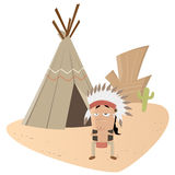 Funny indian chief stock illustration