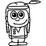Funny Indiana girl kids coloring page Stock Photography