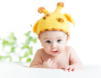Funny infant baby boy. Weared giraffe hat stock photos