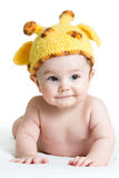 Funny infant baby boy. On white Royalty Free Stock Photo