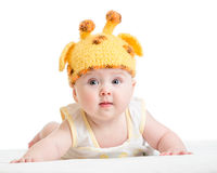 Funny infant baby isolated on white Royalty Free Stock Images