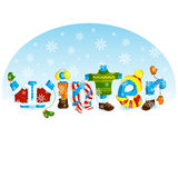 Funny inscription. Lettering word winter with letters, dressed in warm winter clothing. Stock Photos