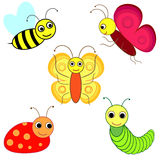 Funny insects. Vector set of cute insects on a white background Stock Photos