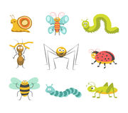 Funny insects with cheerful facesisolated illustrations set. Cute snail, funny butterfly, green and blue caterpillars, ant with small branch, cheerful spider Royalty Free Stock Photos