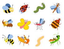 Funny insects, cute cartoon bugs vector set. Colored insects bee butterfly and ladybird, collection of cute insects Royalty Free Stock Photos