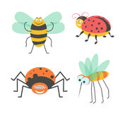 Funny insects with cute faces isolated illustrations set. Funny insects with cute faces isolated vector illustrations set on white background. Big striped Royalty Free Stock Photo