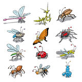 Funny insects. Group, collection, of funny cartooned insects Stock Images