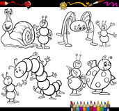 Funny insects set for coloring book. Coloring Book or Page Cartoon Illustration Set of Black and White Insects and Bugs or Fantasy Characters for Children Stock Images