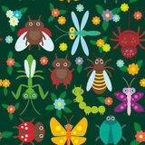Funny insects Spider butterfly caterpillar. Dragonfly mantis beetle wasp ladybugs seamless pattern on green background with flowers and leaves. Vector Stock Photos