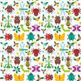 Funny insects Spider butterfly caterpillar. Dragonfly mantis beetle wasp ladybugs seamless pattern on white background with flowers and leaves. Vector Royalty Free Stock Photo