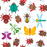 Funny insects Spider butterfly dragonfly mantis beetle wasp ladybugs seamless pattern on white background. Vector Royalty Free Stock Photography