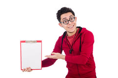 Funny instructor with whistle and diary isolated Stock Photos