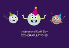 Funny International Earth Day Vector. Vector illustration for Earth Day. Vector illustration environment. Environmental vector background. Cartoon card for Earth Royalty Free Stock Images