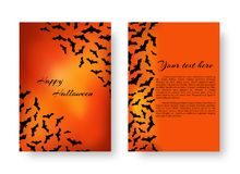 Funny invitation with bats for Halloween. Scary background template with bats for festive decoration of congratulations for Halloween on the orange backdrop Stock Photography