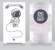 Funny invitation cards for party, cosmic vector illustration Stock Photo