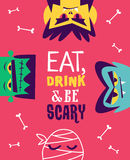 Funny invitation flyer for halloween party. Vector Royalty Free Stock Image