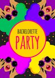 Funny invitation to bachelorette party. Bright funny invitation to bachelorette party, hen party. Crazy card template, invitation to nightclub. Vector royalty free illustration