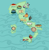 Funny Italy food map Stock Photography