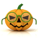 Funny Jack O Lantern. Halloween pumpkin with green glasses Royalty Free Stock Photography
