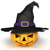 Funny Jack O Lantern. Halloween pumpkin, wearing a witch's hat Royalty Free Stock Photos