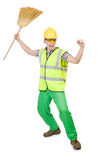 Funny janitor with broom Royalty Free Stock Photo